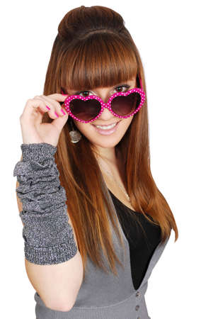 girl with heart sunglasses photo
