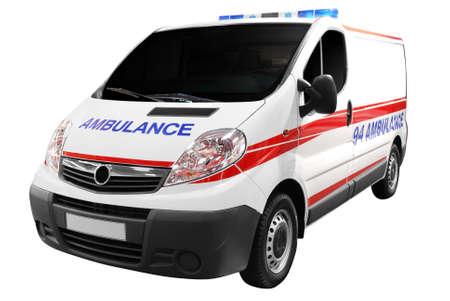 ambulancia: coche de ambulancia aislada Foto de archivo