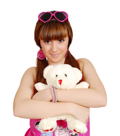 teenage girl holding teddy-bear photo