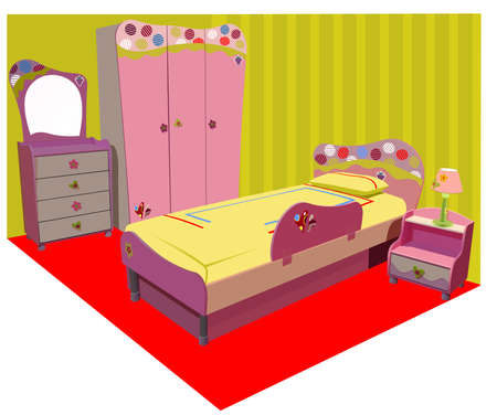 colorful children room illustration Vectores