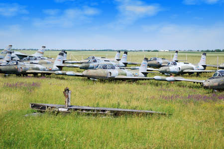 old military fighter jet airplanes graveyard photo