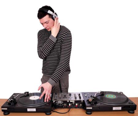 dj with headphones play music Stock Photo