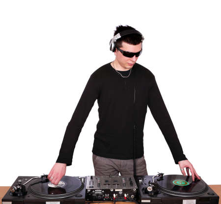 dj: dj with sunglasses play music Stock Photo