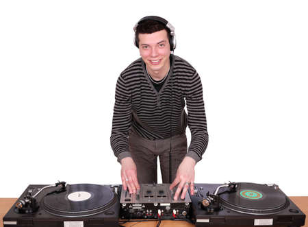 dj with turntables play music photo