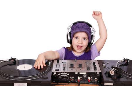 little girl dj fun and play music Stock Photo