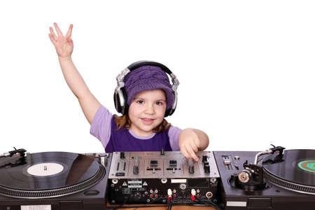 little girl dj play music