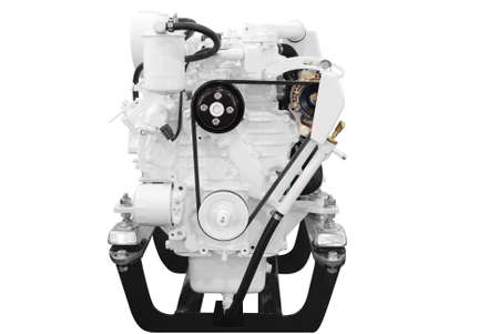 ship engine front view isolated on white photo