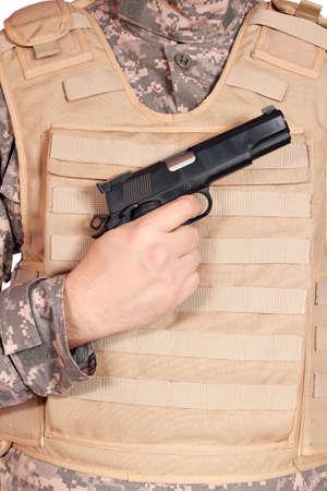 bulletproof: gun and bulletproof vest