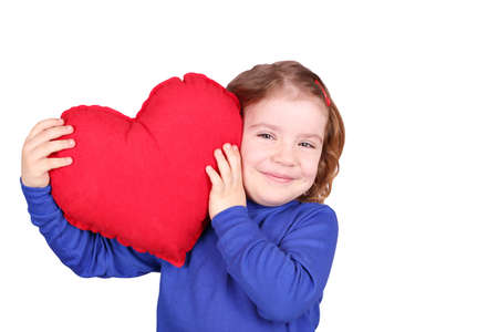 happy little girl with heart photo