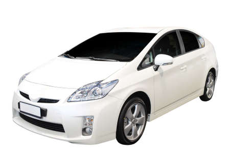 hybride auto die op witte achtergrond wordt geïsoleerd Stockfoto