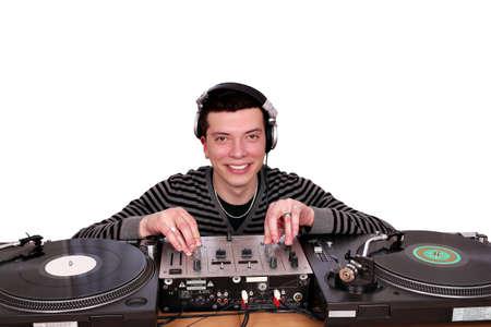 dj with turntables posing photo