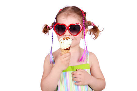 pigtail: little girl with heart sunglasses and ice cream