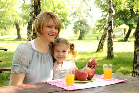 mother and daughter picnic photo
