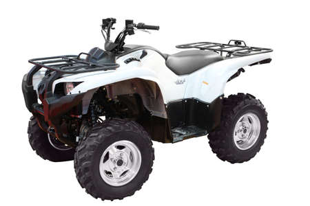 quad: white 4x4 atv isolated