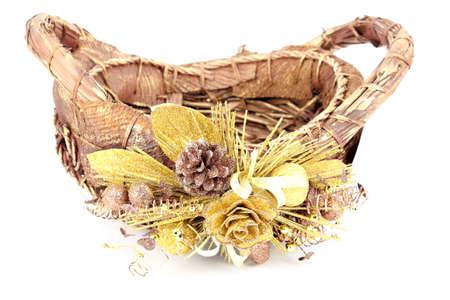 Christmas decorated basket photo