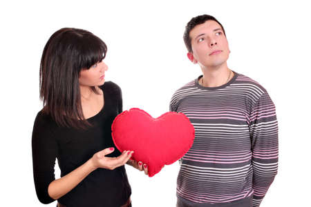 heart problems: girl and boy broken love Stock Photo