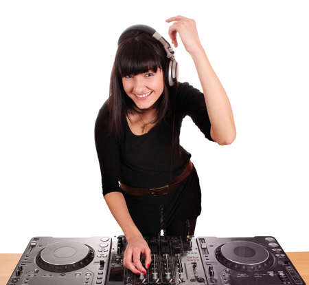 beautiful happy girl dj with turntables photo