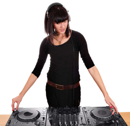girl party dj with turntables photo