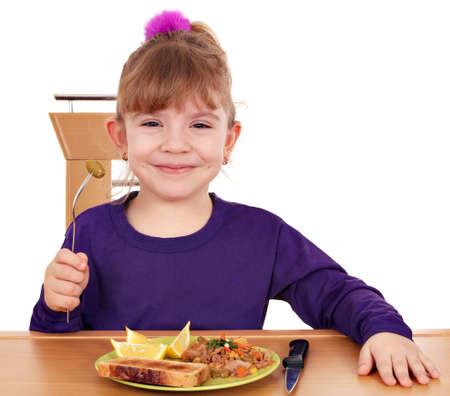 meisje eten: gelukkig meisje eet