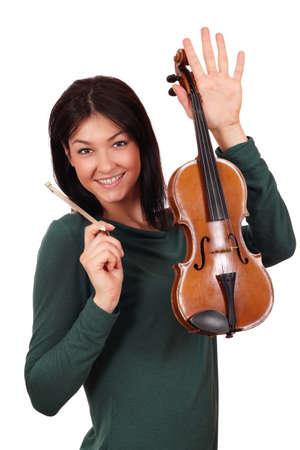 beautiful girl with violin posing photo