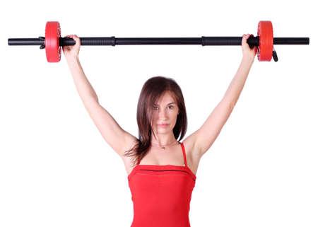 weight lifter: girl weight lifter Stock Photo