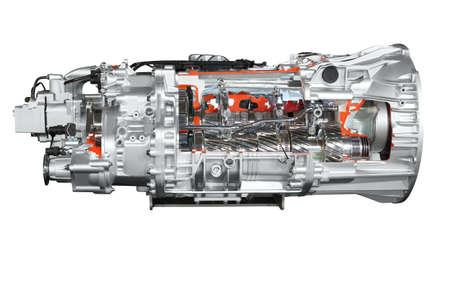 transmission: heavy truck transmission isolated Stock Photo