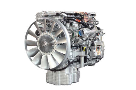 heavy truck engine front view isolated