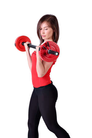 weight lifter: girl exercise with weights Stock Photo