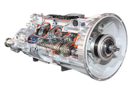 heavy truck automatic transmission front view isolated Standard-Bild