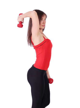 girl exercise with dumbbells healthy lifestyle Stock Photo - 13569200