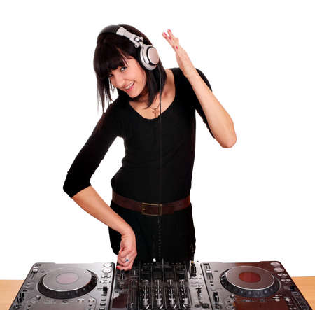 beautiful girl dj play music photo