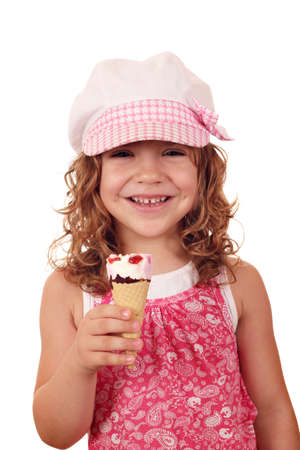 happy little girl with ice cream photo