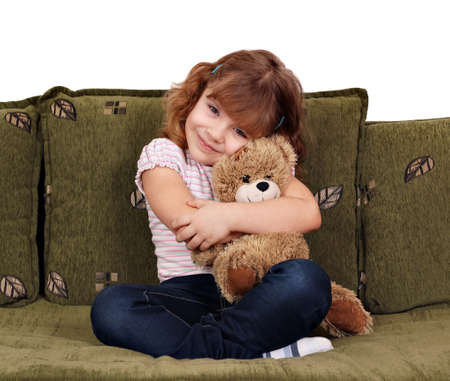 oso de peluche: ni�a con osito de peluche