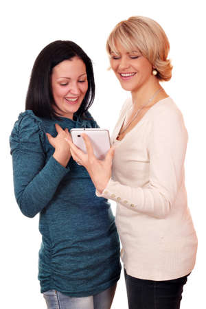 happy mother and daughter with tablet Stock Photo - 15608805