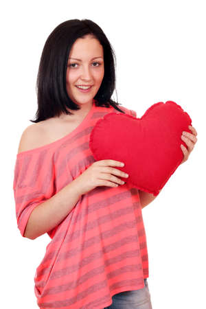 teenage girl holding big red heart Stock Photo - 15728598