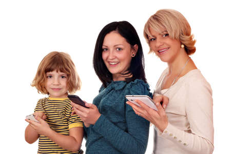 little girl  teenage girl and woman with phones and tablet pc Stock Photo - 15844441