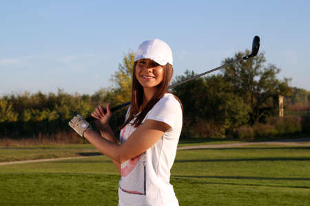 beautiful girl golf player portrait Stock Photo - 16084193