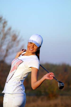 beautiful girl golfer Stock Photo - 16084180