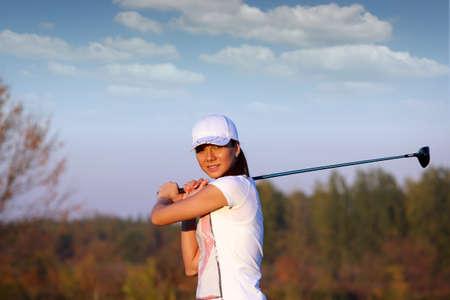 beautiful girl play golf Stock Photo - 16084177