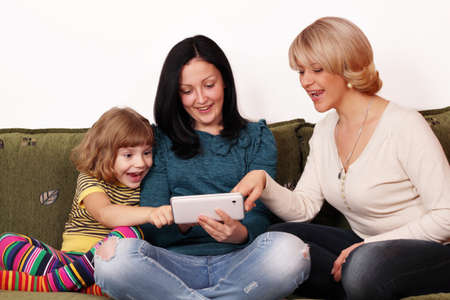 family fun with tablet pc photo