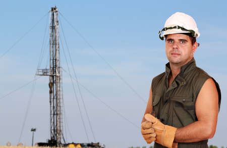 oil worker on oilfield photo