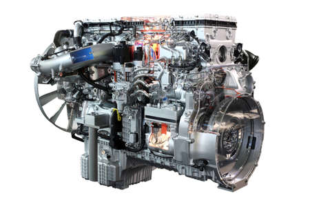 heavy duty: heavy truck diesel engine isolated Stock Photo