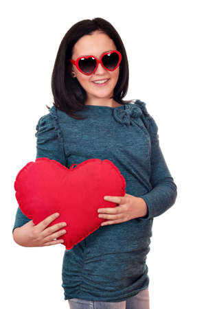 teenage girl with heart and sunglasses photo