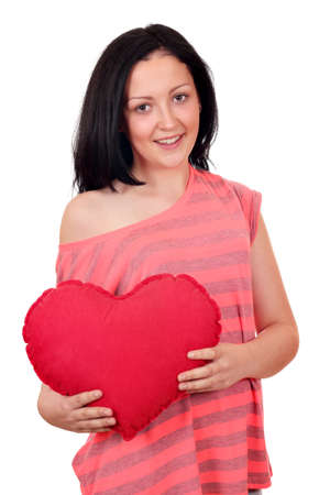beautiful teenage girl holding big red heart photo