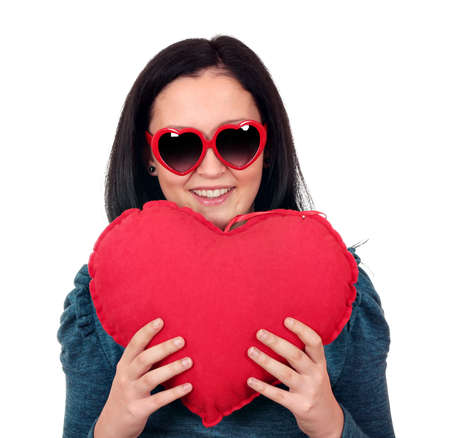teenage girl with heart and sunglasses portrait Stock Photo - 17415219