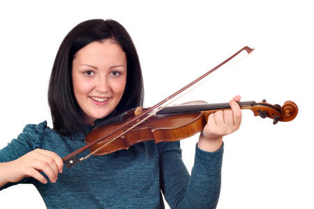 happy teenage girl play violin Stock Photo - 17455378