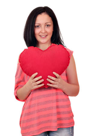 beautiful teenage girl with heart on white Stock Photo - 17498195