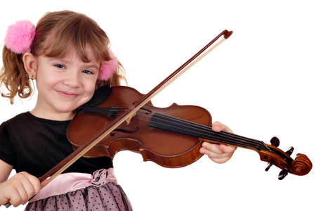 violins: beautiful little girl play violin Stock Photo