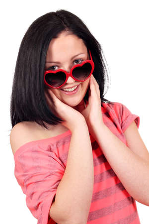 beautiful teenage girl with sunglasses portrait Stock Photo - 17542238