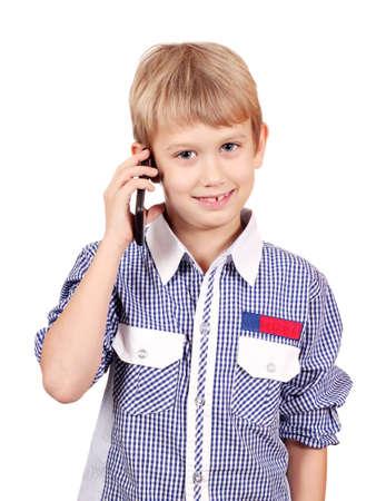 boy talking on smart phone Stock Photo - 17662687